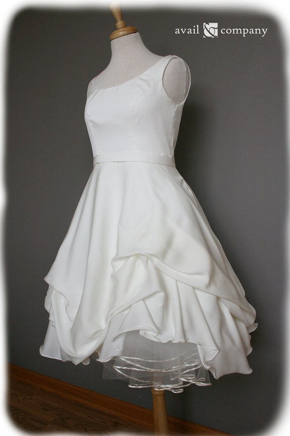 Short wedding dress silk crepe georgette custom made to for Silk georgette wedding dress