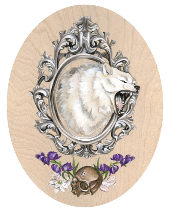SALE Ragnarök white wolf skull Nordic pagan brutal metal painting