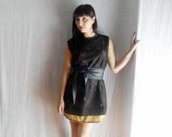 Black tunic dress, lace dress, black dress, party dress, winter dress, womens clothing, aline dress, little black dress, mini dress
