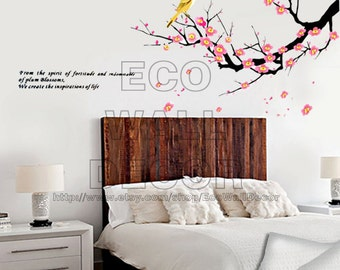 PEEL and STICK Removable Vinyl Wall Sticker Mural Decal Art - Bird and Plum Blossoms Hanging Tree Decal