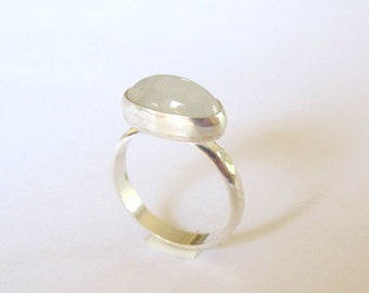 Moonstone Ring, Sterling Silver Ring with Rainbow Moonstone, Gemstone Ring, Made to order