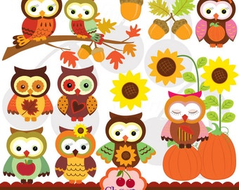 Autumn Owls Digital Clipart Set for-Personal and Commercial Use-paper crafts,card making,scrapbooking,web design