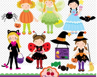 Halloween Costumes Girls digital clip art set  for-Personal and Commercial Use-paper crafts,card making,scrapbooking,web design