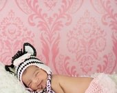 Crochet Zebra Hat, Toddler Hat, Newborn Hat, Baby Beanie, Toddler Beanie, Newborn Beanie, Knit Baby Hat, Zebra Hat, Zebra Beanie
