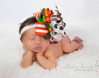 Big Bow Hair Bow, Thanksgiving Bow,  Baby Bow, Newborn Bow, Toddler Bow, Hair Bow, Baby Girl Bow, Baby Headband, Toddler Headband