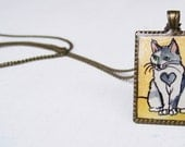 Cat Jewelry Pendant Necklace - Hand Painted Art Jewelry Pendant