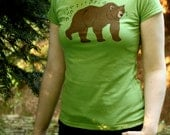 Whistling Bear Summer T Shirt - Hand Printed Womens Bear T Shirt - SALE!!!