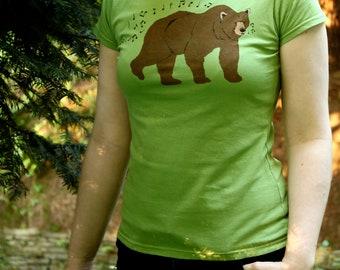 Whistling Bear Summer T Shirt - Hand Printed Womens Bear T Shirt - SALE!!!