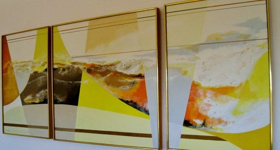 Mary Ann Ginter , Abstract triptych Acrylic on silk canvas Sun Span II Original signed
