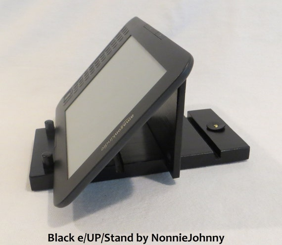 e/UP/Stand, Universal Portable Stand for iPad, Kindle, Tablet, eReader, Nook. Adjustable  Black Wood Stand