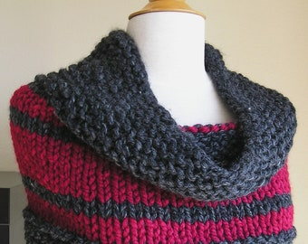 Classic Striped Cowl -- Charcoal Grey and Red -- Wool blend