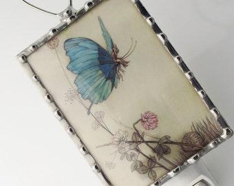 Night Light Blue Butterfly Fairy - Nightlight Vintage Image - Nursery Nightlight - Glass Night Light N71