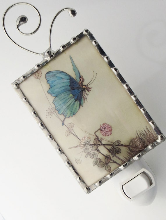 Night Light Blue Butterfly Fairy - Nightlight Vintage Image - Nursery Nightlight - Glass Night Light N71