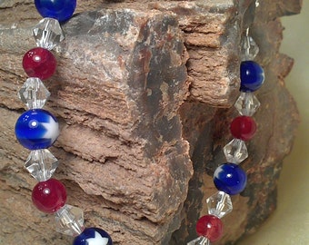 Red White Blue Beaded Bracelet Patriotic With Patriotic Star with Toggle Clasp Perfect for Memorial Day or July 4th
