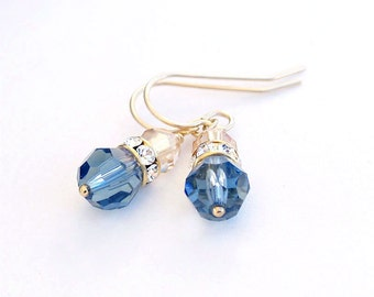 SPECIAL - Swarovski Earrings in Blue - Crystal Earrings - Swarovski Dusk Blue Bridesmaid Earrings - Small Crystal Earrings - Gold Filled