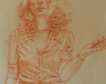 """Original drawing woman standing pastel pencil on Canson paper by Vernon Grant, Lovely Woman, 11"""" x 14"""""""