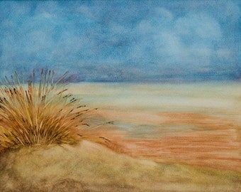 Stormy Monday - Landscape of a beach as the storm gets near, original watercolor on Aquaboard