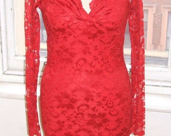 Baylis & Knight Red on Red LACE Long Sleeve POLLY Twist Pencil Wiggle Knee Dress Burlesque Dita Pin Up