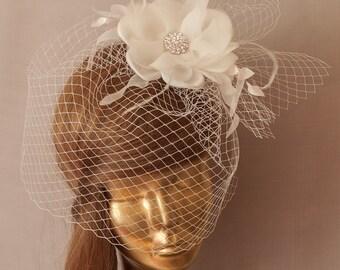 Ivory  Bridal BIRDCAGE VEIL, Bridal FASCINATOR