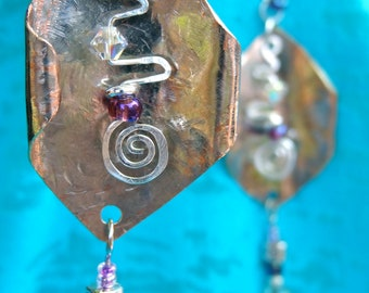 Fun and Funky Metalworked Dangle Earrings with Silver plated accents and Swarovski crystals/Czech glass from Third Time's A Charm