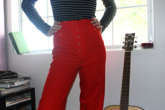 Vintage Sailor Pants High Waist Super Flare