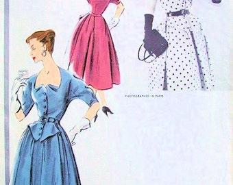 ELEGANT 1950s Vogue Paris Original Model 1251 Vintage Sewing Pattern Patou Design Dress Interesting Neckline  Dita Von Teese Style