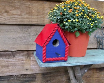 Red and Blue Birdie Cottage Handmade Birdhouse with Metal Roof