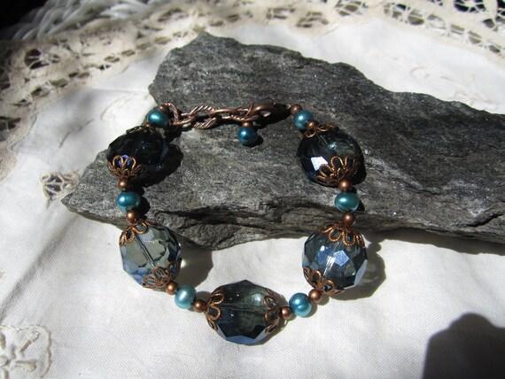 Chunky Royal Blue Iridescent Crystal Bracelet