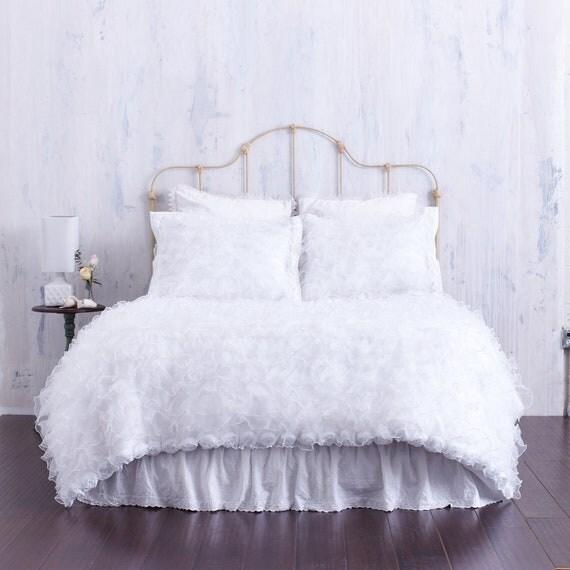 White Ruffled Chiffon Bedding Ruffled Shabby By