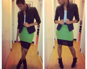 Green and Black stretch pencil skirt