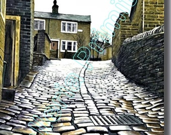 Sapgate Lane, Thornton / Evocative Watercolor by Contemp British Artist Stuart Hirst / Signed Giclée Print of Superb Watercolor Landscape