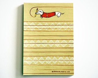 Cute DACHSHUND stationery, cute animals puppy dog, sausage dog gift, dog lover gift, retro dogs stationery notepad