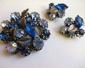 Blue Rhinestone Brooch Set, Vintage Rhinestone Jewelry. Clip on Earrings, Pinback Brooch w Silver Metal Leaf Clusters, Triad Costume Jewelry