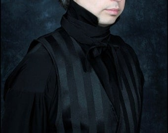 2 Piece Black Bastian Shirt and Matching Cravat Set by Kambriel - Designer Sample - Brand New & Ready to Ship!