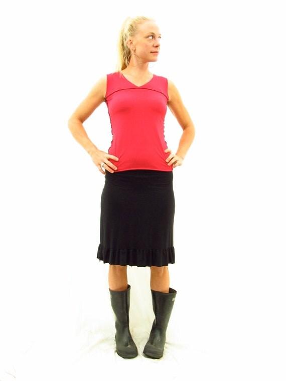 Organic Cotton and Bamboo Ruffled Pencil Skirt