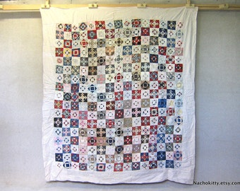 Antique Calico Quilt Browns & Pinks Handmade