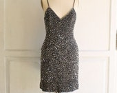 beaded cocktail little black mini dress by lawrence kazar