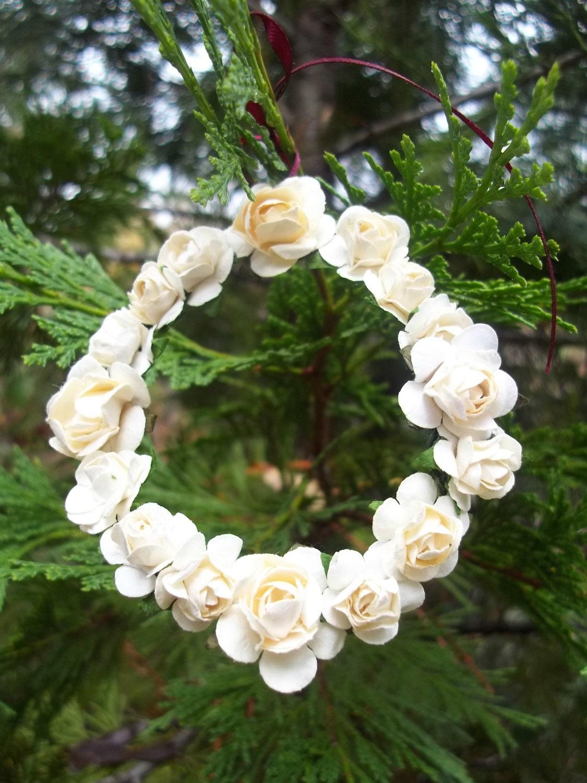 Mini Cream Paper Rose Wreath Ornament - Shabby Chic - Made To Order