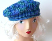 Alpaca Wool - Beret Tam - Blues Greens - Chunky - Hand Made - Hand Knit - Celtic - Bright - Multicolor Hat - Redhead Hat - UNIQUE