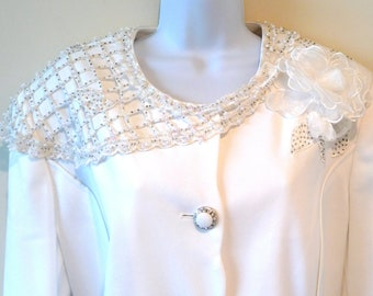 White Wedding Jacket - Sequins - Faux Diamonds - Crochet - Sheer Flower - 90s - Size 16 - Size 46 - Bridal Bride - Black Tie - Performer