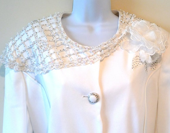 White Wedding Jacket - Sequins - Faux Diamonds - Crochet - Sheer Flower - 90s - Size 16 - Size 46 - Bridal Bride - Black Tie - Performer