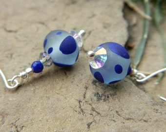 Blue Dot Special Earrings - Handmade Lampwork Glass w Swarovski Crystals & Artisan-Made Long Sterling Silver Ear Wires