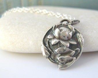 Buddhist Jewelry, Lotus Necklace, Sterling Silver - Art Nouveau