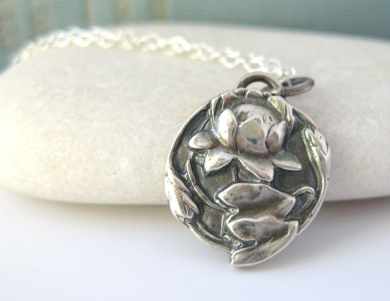 Lotus necklace buddhist jewelry sterling by gooseberrystudio for Zen culture jewelry reviews