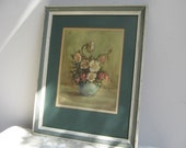 """Vintage Floral Wall Art Print """"Wild Roses"""" Flowers Lithograph by Countess Zichy in Cream & Green Painted Wood Frame, Edward Gross Co. Inc."""