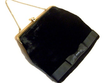 Evening Handbag Black Velvet Vintage Old Style Charm Clutch Purse FUN Gift ideas for her