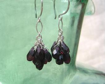 Red Garnet Cluster Earrings Silver Gemstone Dangles January Birthstone Natural Stone Earrings