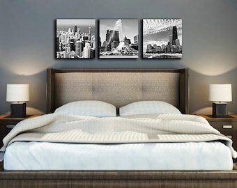 Chicago Canvas Scenic Prints -  Canvas Art Set featuring Chicago Skyline Photos, Chicago Photo, Chicago Art, Chicago Wall art