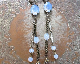 Opalescent Assemblage Earrings / Vintage Repurposed Jewelry / Rustic Long Dangles / October Birthstone