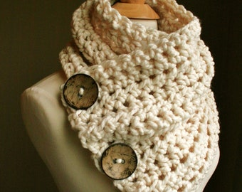The Original BOSTON HARBOR SCARF in Cream | Warm, soft & stylish scarf with 3 coconut buttons | Sale